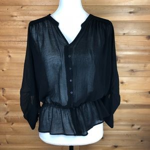 Zara Button Up sheer peasant blouse